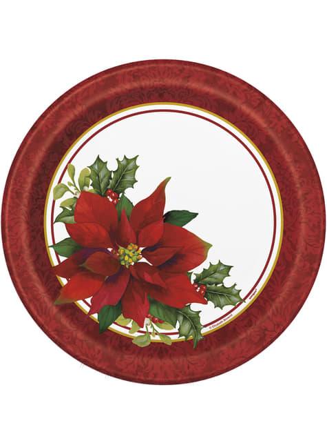 8 platos redondos con flor de pascua elegante (23 cm) - Holly Poinsettia