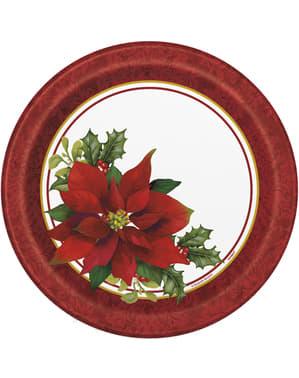 Набір з 8 круглих пластин елегантна пуансеттія - Holly Poinsettia