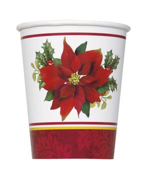8 pahare cu steaua Crăciunului elegantă - Holly Poinsettia