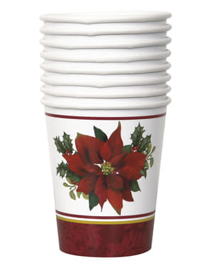 8 cups with elegant poinsettia - Holly Poinsettia