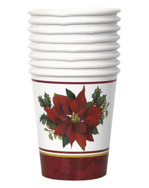 Sæt af 8 kopper med elegant julestjerne - Holly Poinsettia