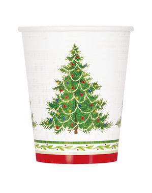 8 copos com árvore de Natal - Classic Christmas Tree