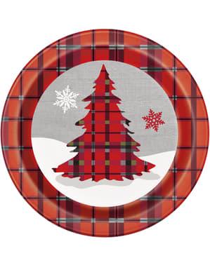 Sada 8 kulatých talířů s vánočním stromkem a rustikální kostkou - Rustic Plaid Christmas