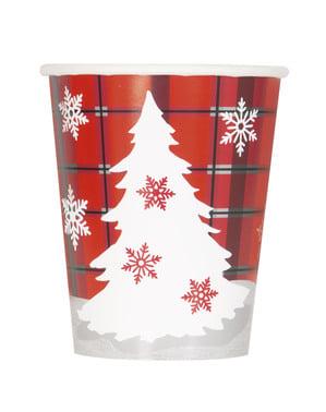 8 copos com árvore de Natal e quadrados rústicos - Rustic Plaid Christmas