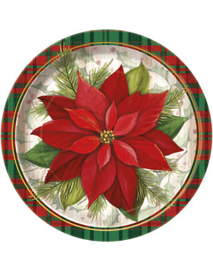 8 round plates with poinsettia and Scottish plaid - Poinsettia Plaid