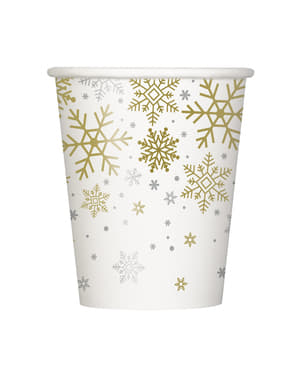 8 vasos - Silver & Gold Holiday Snowflakes