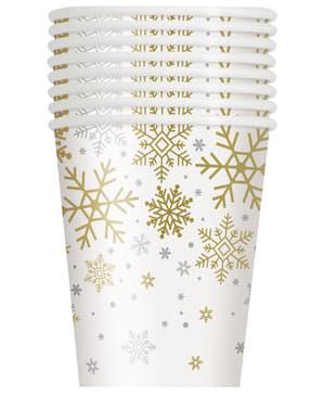 8 gobelets - Silver & Gold Holiday Snowflakes
