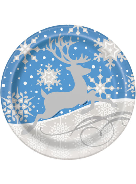 8 platos redondos azules con reno plateado (23 cm) - Silver Snowflake Christmas