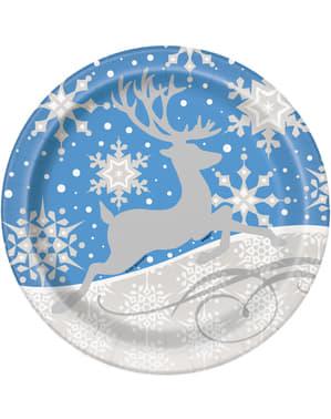 Sett med 8 rund blå tallerken med sølv reinsdyr - Sølv Snøflak Jul