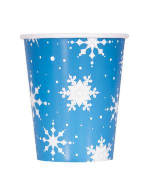 Sett med 8 blå kopper med sølv snøflak - Sølv Snøflak Jul