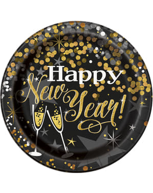 8 large New Year's plate (23 cm) - Glittering New Year