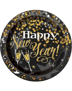 Sett med 8 store Nyttårsaften tallerken - Glitrende New Year