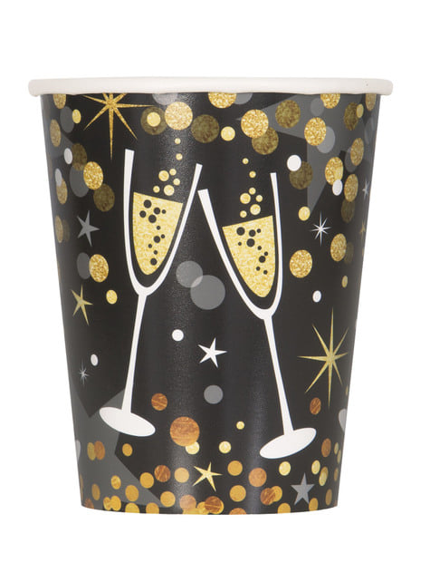 Set of 8 New Year's cups - Glittering New Year