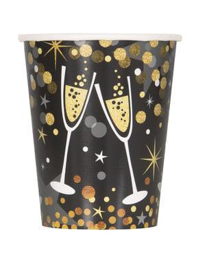 Sett med 8 Nyttårsaften kopper - Glitrende New Year