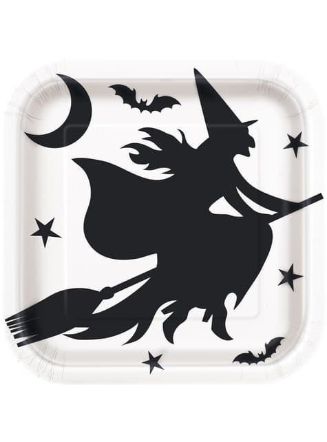 8 assiettes noire et blanches (23 cm) - Black Bats Halloween