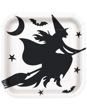 Sæt af 8 tallerkner hvide og sorte med heks - Black Bats Halloween