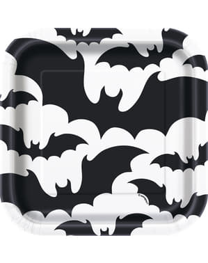 8 dessert plates black and white with bat (18 cm) - Black Bats Halloween