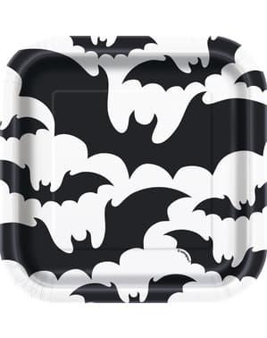 Zestaw 8 czarno-białych talerzy deserowych w nietoperze - Black Bats Halloween
