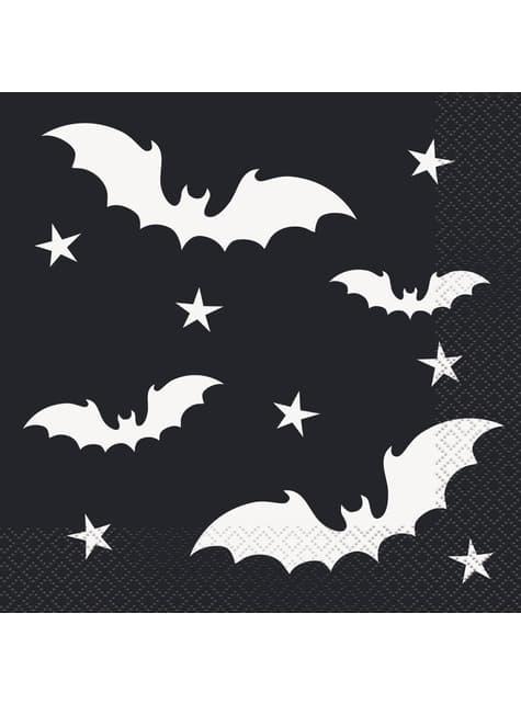 16 serviettes chauv-e-souris (33x33 cm) - Black Bats Halloween