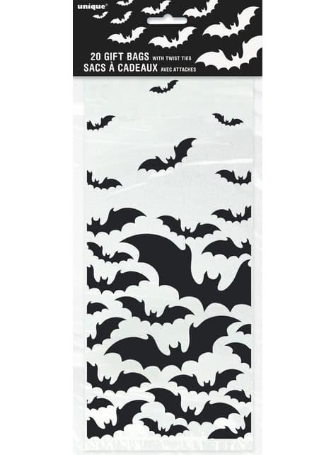 20 bolsitas transparentes con murciélagos - Black Bats Halloween - para tus fiestas