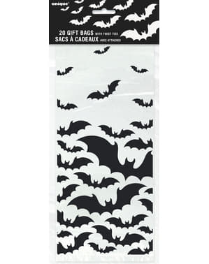 20 bustine trasparenti con pipistrelli - Black Bats Halloween