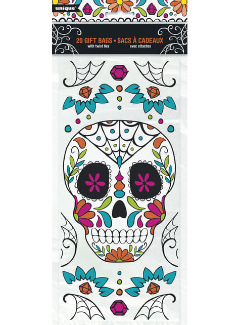 20 Catrina cellophane gift bags - Day of the Dead