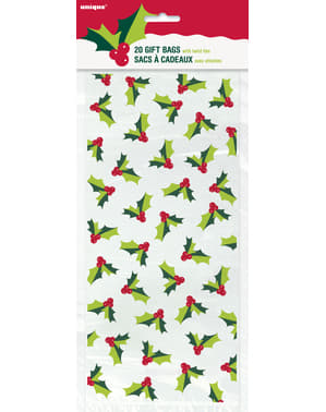 20 mistletoe cellophane gift bags - Holly Santa