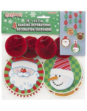Zestaw 4 wiszących dekoracji świątecznych - Basic Christmas