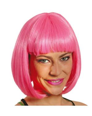Halflange roze pruik