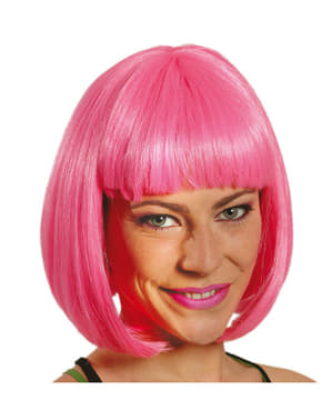 Peruk Halvlångt hår Rosa