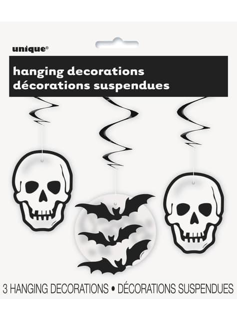 3 Totenköpfe und Fledermäuse Hänge-Spiralen - Basic Halloween