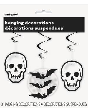 3 decorações de pendurar de caveiras e morcegos - Basic Halloween