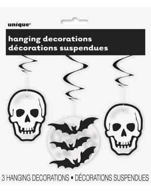 3 hanging skull and bat decorations - Basic Halloween
