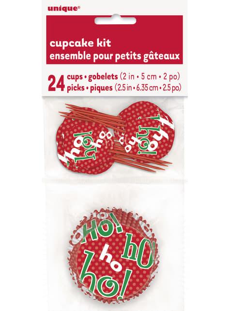 24 Cupcake Förmchen + 24 Weihnachts Deko-Stäbchen - Ho Ho Ho Christmas