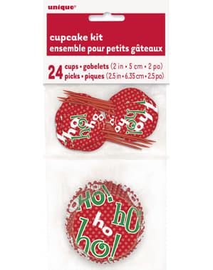 24 Cupcake קפסולות + 24 Toppers חג המולד - הו הו הו המולד