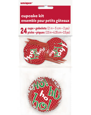 24 Cupcakecapsules + 24 Kersttoppers - Ho Ho Ho Christmas