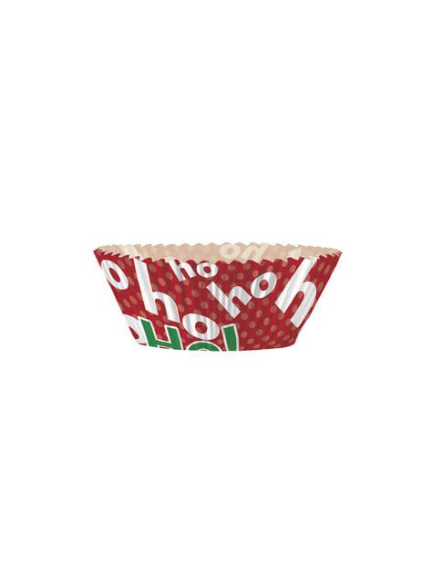 24 Cápsulas de cupcake + 24 toppers navideños - Ho Ho Ho Christmas