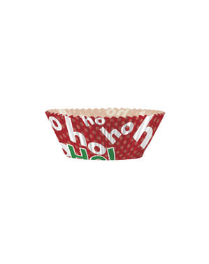24 Cupcakecapsules + 24 Kersttoppers - Ho Ho Ho Christmas