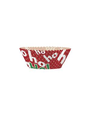 24 cupcakeformar + 24 juliga dekorationspinnar - Ho Ho Ho Christmas