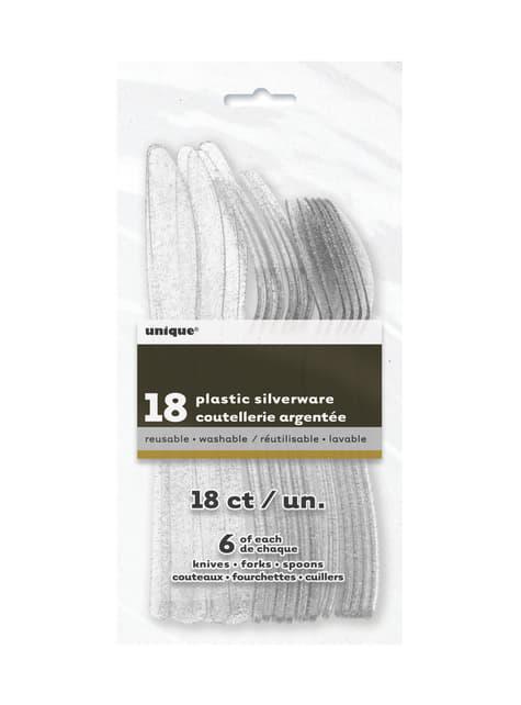 18 Delig zilveren glitter plastic bestekset - Basic Christmas