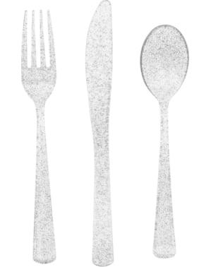 Sett med 18 sølv glitter plast bestikk - Basic Jul
