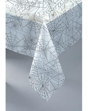 Duk rektangulär vit med spindelnät - Basic Halloween