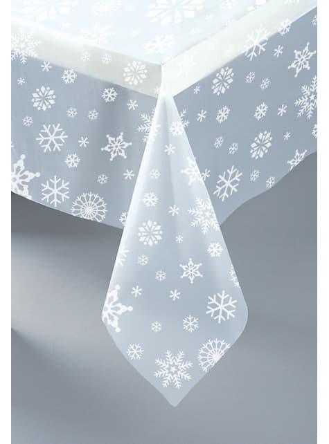 Mantel rectangular transparente navideño - White Snowflakes