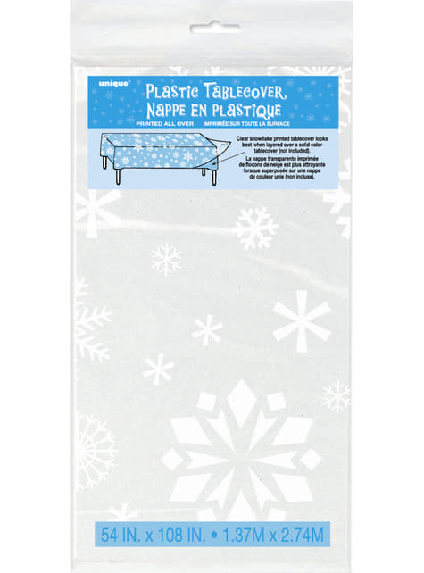 Mantel rectangular transparente navideño - White Snowflakes - para tus fiestas