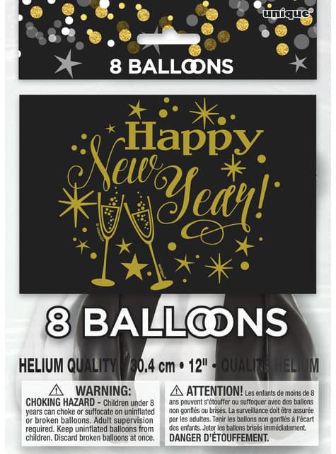 8 latex New Year's balloon (30 cm) - Glittering New Year