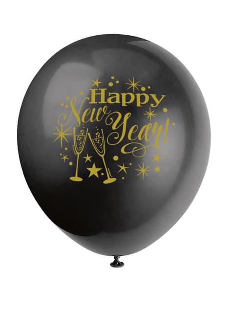 8 globos de látex de Nochevieja (30 cm) - Glittering New Year