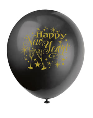 Silvester Latex-Luftballon Set 8-teilig - Glittering New Year