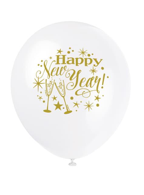 8 globos de látex de Nochevieja (30 cm) - Glittering New Year - para tus fiestas