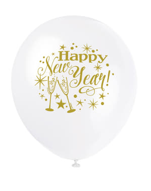 8 latex New Year's balloon (30 cm) - Glittering New Year