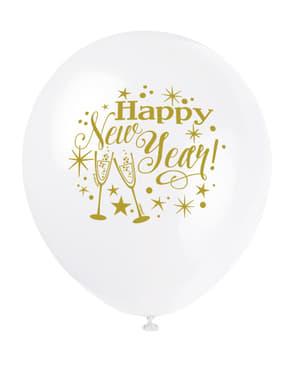 Zestaw 8 Sylwestrowych lateksowych balonów - Glittering New Year